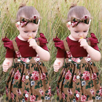 Fashion Toddler Kids Baby Girls Floral Overalls Skirt +Headband+Romper Clothes