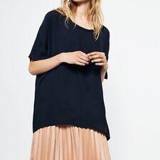 schönes Oversize-Shirt/Bluse, ZARA, WOMAN, Gr. S, blau, Kupferseide, NEU