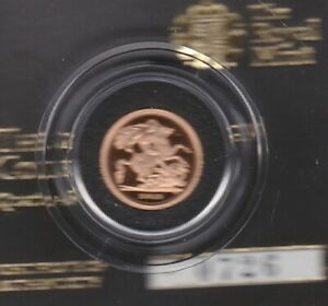 BOXED 2013 ROYAL MINT GOLD PROOF QUARTER SOVEREIGN WITH CERTIFICATE.