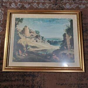 "Antique Lithograph Print of Landscape Painting by Paul Bril 10.5"" x 13.5"""