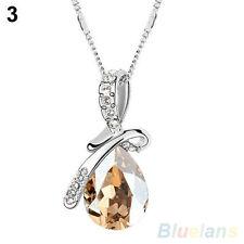 Champagne & Clear Austrian Crystal Teardrop Necklace Pendant (248)