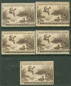 EDW1949SELL : USA 1942 Scott #RW9. 5 stamps. Mint No Gum. All Sound. Retail