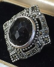 925 Sterling Silver Smokey Quartz with MARCASITE RING SIZE 7 1/2