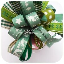 Green Christmas Ribbon Bundle 8 x 1Mtr - Crafts, Gift Wrapping, Cake Decoration.