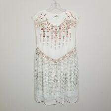Anthropology One September White Peach Tan Embroidered Relaxed Chiffon Dress XS