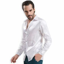 Men Faux Silk Satin Shirt Casual Top Long Sleeve Blouse Party Clubwear Bling Fit
