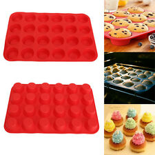 24 Cup Cavity Muffin Silicone Mini Cookies Cupcake Bakeware Pan Tray Mould New