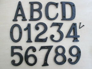 "3""  BLACK ANTIQUE CAST IRON HOUSE DOOR NUMBERS NUMERALS LETTERS"