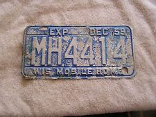 1959 Wisconsin License Plate Mobil Home
