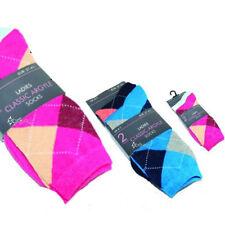 12Pairs Ladies Classic Argyle Design Socks Shoe Size 4-7