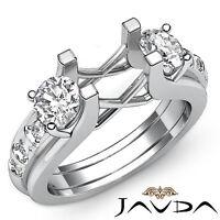 Prong Set Diamond 3 Stone Unique Weddiig Round Mount Ring 18k White Gold 1Ct