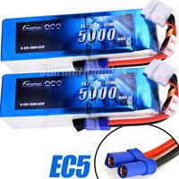 NEW (2) Gens ace 5000mAh 45C 6S 22.2V EC5 LiPo Batteries ALIGN T-REX550/600/700