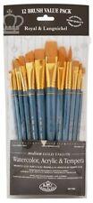 Royal Langnickel Gold Taklon Variety Brush Set -(Pack of 12) RSET-9305