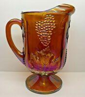 "Vintage Indiana Glass Harvest Grape Amber Gold Carnival Glass 10 1/2"" Pitcher"