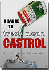 CASTROL CHANGE TO FRESH CLEAN CASTROL METAL SIGN,RETRO,GARAGE,OIL.