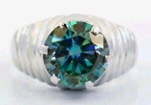 5,10 CTS Blauer Diamant-Ring, 925 Silber, AAA, blue Diamond, Zertifikat