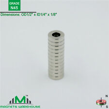 "12-count neodymium N45 NdFeb ring magnets 1/2""OD x 1/4"" ID x 1/8"" Thick"