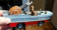 Vintage Army Friction Amphibious TRUCK Tin  1950's GUN BOAT Japan Rare K SANKEI
