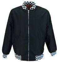 Mens Black Check Trim Classic Harrington Monkey Jacket
