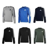 adidas 3 Stripes Crew Sweatshirt Mens Sweater Top Jumper