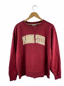 VINTAGE Florida State University FSU Logo Sweatshirt Men Size L Red Maroon Crew
