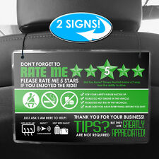 "UBER / LYFT Headrest Rating & Tip Signs 6""x9"" Set of 2 - Green (V.3)"