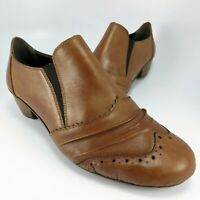 Rieker Antistress WingTip Shooties Women Size 7.5M (EU 38) Brown Leather Pumps