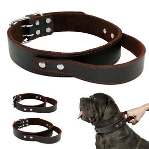 Genuine Leather Dog Collar Quick Control with Handle for Large Breeds Training