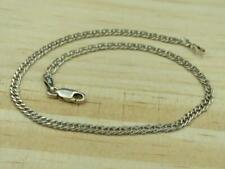 Italy Sterling Silver 3mm Double Curb Cuban Link Ankle Bracelet