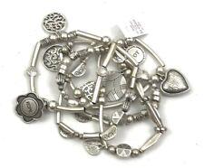 "Lia Sophia ""Menagerie"" 5 Strand Charms & Beads Matte Silver Stretch Bracelet"