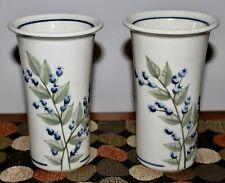 UNION STONEWARE Maine BLUEBERRY Two Vases