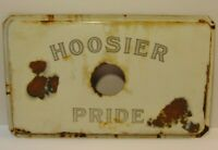 Old Vintage 1930s Indiana Hoosier Pride Porcelain Advertising Sign Hoosier Stove
