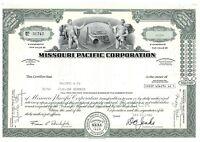 Missouri Pacific Corporation Common Stock Certificate Railroad 1980's type 1