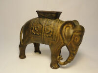 Antique CAST IRON ELEPHANT WITH HOWDAH FIGURAL STILL BANK By A. C. WILLIAMS