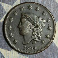 1834 CORONET HEAD LARGE CENT SMALL DATE LARGE STAR COPPER COLLECTOR COIN