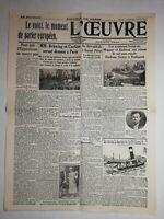 N1110 La Une Du Journal L'œuvre 17 juillet 1931 aviateurs hongrois Magyar