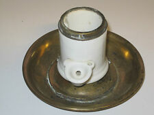 Vintage - très rare encrier en porcelaine et laiton