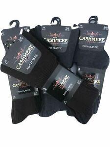 6 Pairs Mens Cashmere Blend Non Elastic Socks