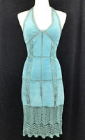 DANIER Women's Blue Aquamarine GENUINE SUEDE Knitted Halter  Pencil Dress Size 0