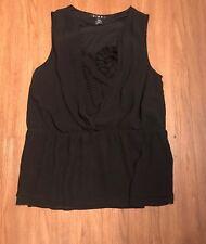DIMRI Women's Black Sleeveless SZ L Ruffle Top Blouse