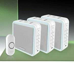 Honeywell 200m Wireless Triple Portable or Wall Mounted Doorbell Kit