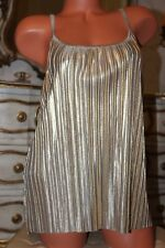 (Ref 16) H&M Shiny Gold Elasticated Pleated  Ladies Top size M