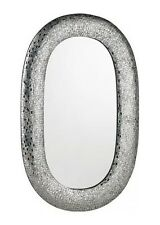 LARGE WALL MIRROR OVAL SILVER MOSAIC