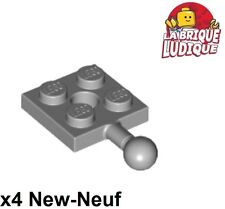 Lego - X4 Flat Modified 2x2 Towball and Hole Grey/Light Bluish Gray 15456 New