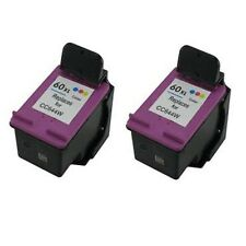2pcs HP 60XL Color CC644W Reman Ink Cart 66% More Ink