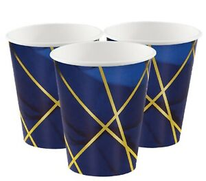 Navy Gold Geode Birthday New Years Art Deco 1920s Vintage Party Tableware Cups