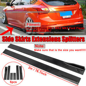 78.7'' Side Skirts Panel Extension Gloss Black For Ford Focus RS ST Line Fiesta