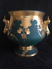 """Pickard *rare* signed """"Coufall"""" Punch Bowl, Matte Green Etched Gold Grapes"""