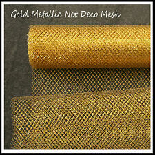 Deco Mesh Gold Metallic NET 62cm x 9m Roll - 52 Colours Available -UK