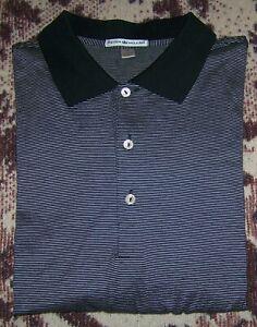 Mint PETER MILLAR Golf Polo Button Dress Collared Shirt Black White Striped XL